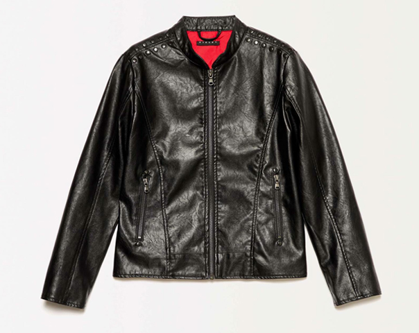 Jacket in imitation leather with studs