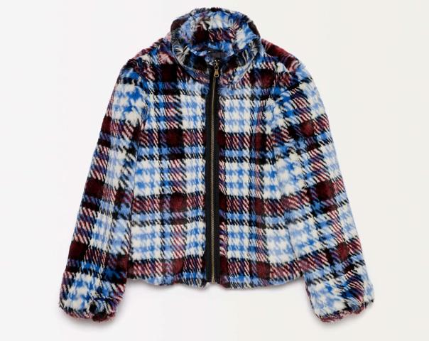 Check faux fur jacket